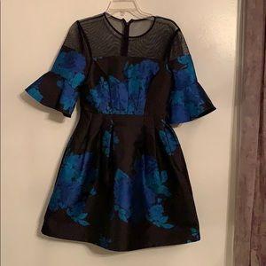 Sz2 Belle Blue Badgley Mischka Aline mini dress